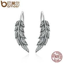 BAMOER Vintage 925 Sterling Silver Feather Wings / Leafs Theme Long Drop Earrings - Ladies / Women's, CZ