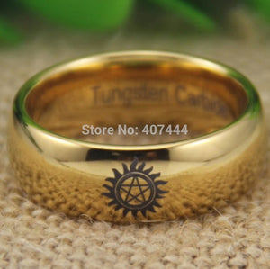 YGK Classic Tungsten Carbide, Gold, Supernatural Logo Themed Dome Ring - Unisex, Men's, Women's