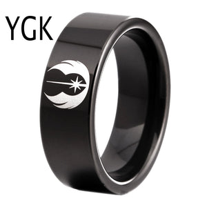 YGK Trendy Tungsten Carbide Black Star Wars Jedi Logo Themed Ring - Unisex, Men's, Women's