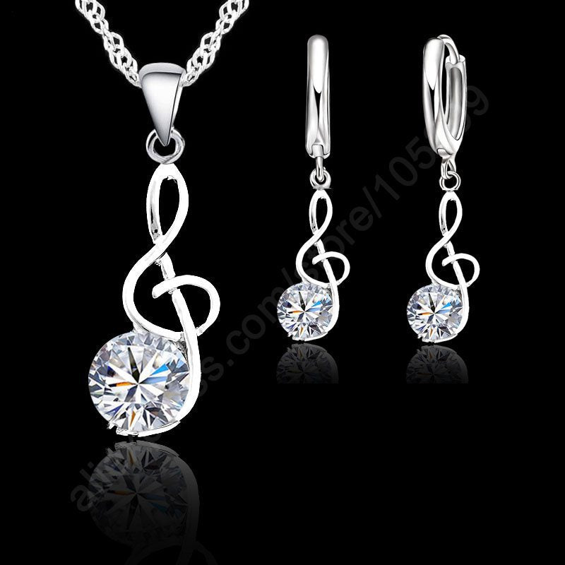 JEXXI 925 Sterling Silver Necklace / Pendant & Earring Music Note Theme Jewellery Set - Woman's / Ladies, Cubic Zirconia