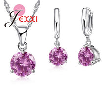 JEXXI 925 Sterling Silver Classic Necklace & Earrings Set - Ladies / Women's, Cubic Zirconia