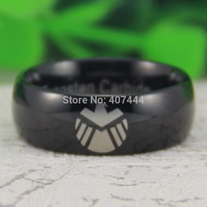 YGK Trendy Tungsten Carbide Black Marvel, Agents of Shield Logo Themed Ring - Unisex, Men's, Women's
