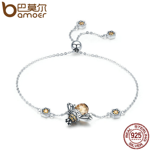 BAMOER 925 Sterling Silver Dancing Honey Bee Theme Adjustable Ladies / Women's Bracelet - CZ / Glass