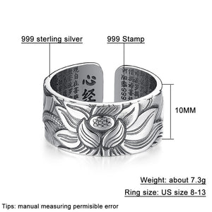 V.YA Vintage 999 Pure Sterling Silver Buddhism Themed Ring - Men's / Gents, Lotus Flower, Sutra, Re-sizable