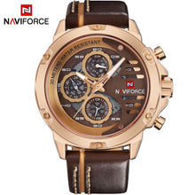 NAVIFORCE Brand Sports / Military Quartz Stainless Steel Watch - Men's, 24 Hour, Water Resistant, Leather