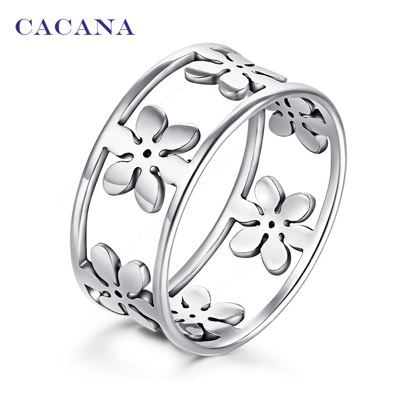 CACANA Titanium / Stainless Steel Five Petal Flower Themed Ring - Ladies / Women's