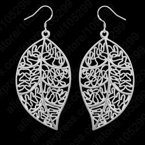 JEXXY 925 Sterling Silver Leaves Themed Jewellery Set - Hook Earrings & Pendant Necklace