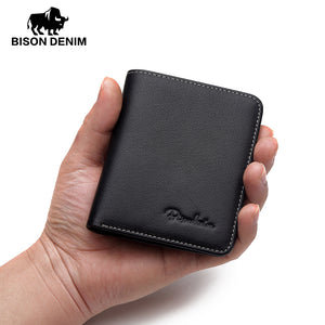 BISON DENIM Genuine Leather, Soft, Mini, Thin, Men's / Gents Wallet - Black, Blue, Coffee
