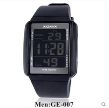 XONIX Sports Rectangle PU Resin / Stainless Steel LED Digital Watch - Water Resistant 100m, Men's / Gents