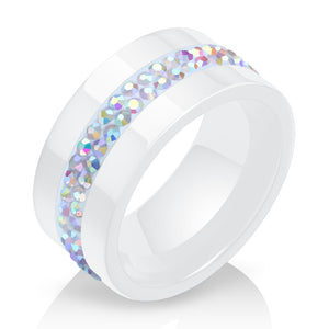 VQYSKO, 10MM Classic Two-Colour Crystal & Ceramic Ring for Women, Ladies - Casual, Formal