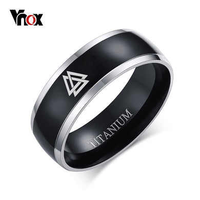 VNOX Titanium 8mm Ring - Men's / Gents, Viking, Horus, Allah, Blank, Horus Eye, OM AUM...