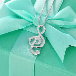 JEWELORA 925 Sterling Silver Treble Clef Themed Necklace / Pendant - Ladies, Women's, Rhodium Plated