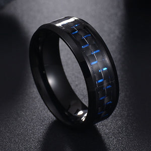 ELSEMODE Stylish IP Plated Stainless Steel, Carbon Fiber Inlay Ring - Men's / Gents