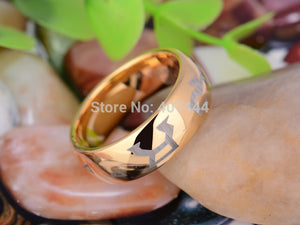 YGK Attractive 8mm Golden Dome Stargate Chevron Address Theme Unisex Ring - Tungsten Carbide
