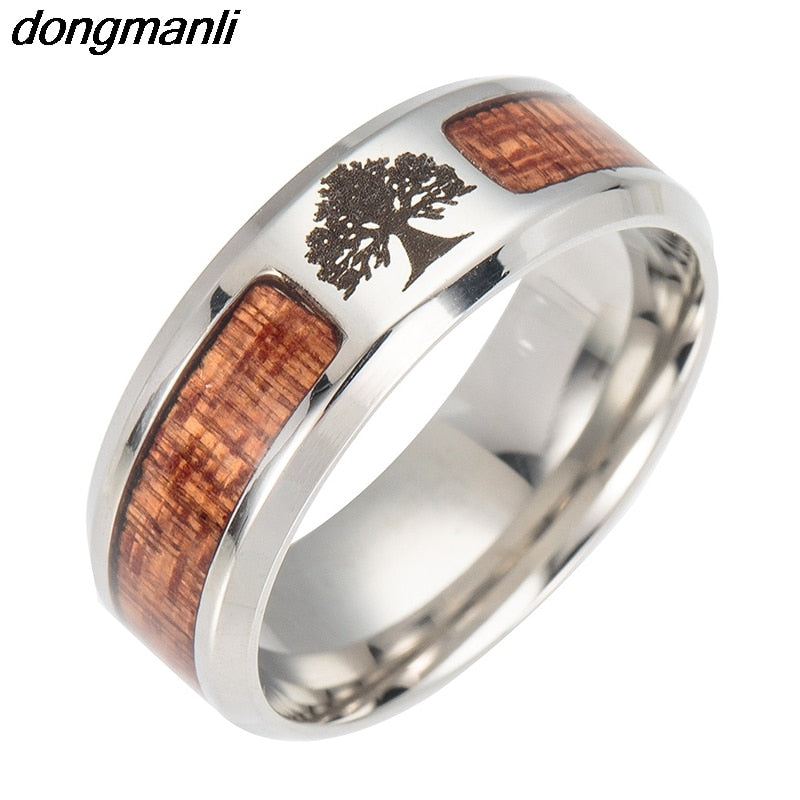 DONGMANLI Nordic Theme Yggdrasil Theme Wooden / Stainless Steel Ring - Gent's / Men's, Viking, Rune