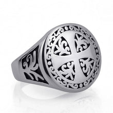 ELFASIO 316L Stainless Steel Gothic Style Silver Cross Theme Ring - Unisex