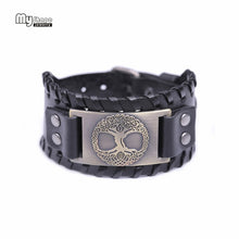 MY SHAPE Vintage Tree of Life Theme Antique Style Leather Wrap Bracelet - Unisex, Viking, Norse