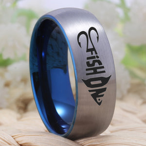"YGK Trendy Tungsten Carbide ""FISH ON"" Surfer / Sports Style Ring - Unisex, Men's, Women's"