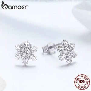 BAMOER 925 Sterling Silver Winter Snowflake theme Stud Earrings - Ladies / Women's, Platinum Plated, Cubic Zirconia