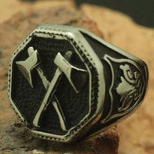 BOYARD Cool 316L Stainless Steel Twin Crossed Silver Axes Ring - Men's / Gents