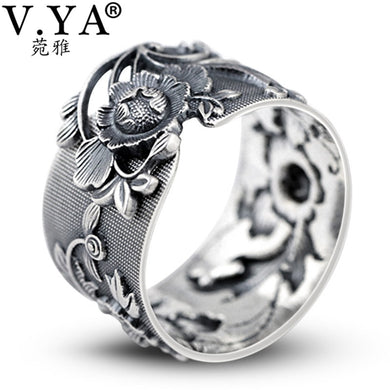 V.YA 999 Sterling Silver Vintage / Retro Peony Flower Themed Adjustable Ring - Ladies / Women
