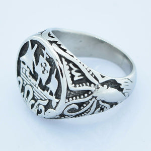 FANSSTEEL Vintage Stainless Steel Sailing Ship & Kraken / Maritime Theme Ring - Men's / Gents