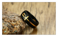 MEAEGUET Separable Egyptian Ankh Cross Themed 316L Stainless Steel Ring - Men's / Gents, Black and Gold