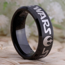 YGK Trendy Style Tungsten Carbide Black Star Wars Themed Ring - Unisex, Men's, Women's