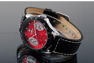 T-WINNER Sports Mechanical Automatic Watch - Men's / Gents, High Quality Leather, Stainless Steel