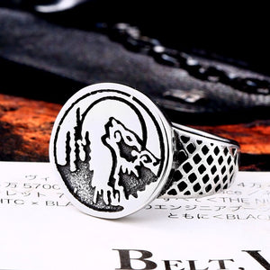 BEIER Punk / Trendy 316L Stainless Steel Howling Wolf & Moon Theme Ring - Men's / Gents