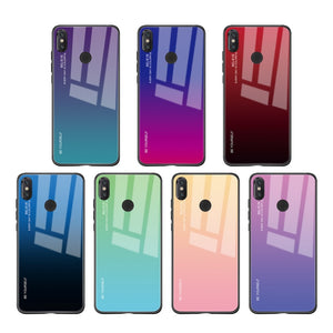 Xiaomi, Stylish Rear Tempered Glass & TPU Gradient Fitted Case (Pocophone, Redmi 6 7, Note 5 6 7 8 Pro)