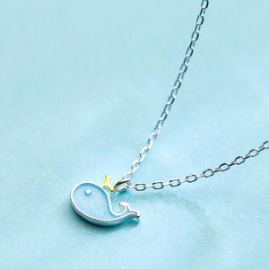 LicLiz Cute 925 Sterling Silver Whale Theme Pendant / Necklace - Ladies / Women's, White Gold Plated