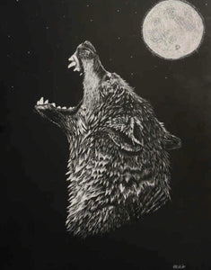 Original Wolf Scratch Piece