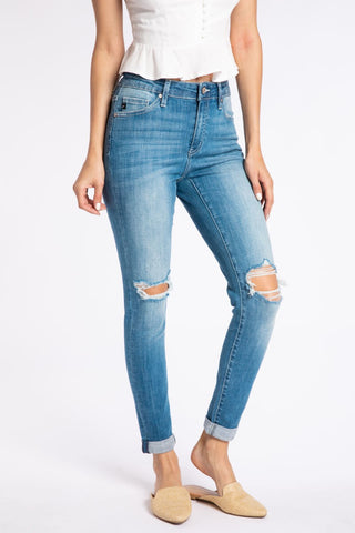 Stephanie High Rise Double Cuff Skinny Denim