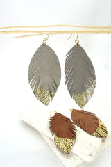 Leather Feather Earring {MULTIPLE COLORS}
