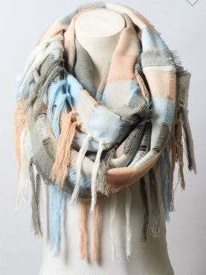 DOORBUSTER Peach Fringe Infinity Scarf [FINAL SALE]