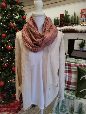 Cable Knit Infinity Scarf {MULTIPLE COLORS}