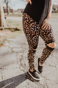 Leopard Lace Knee Leggings