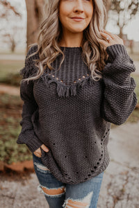 Frayed Away Sweater {MULTIPLE COLOR OPTIONS}