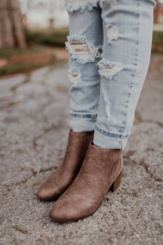 Taupe Stacked Heel Bootie