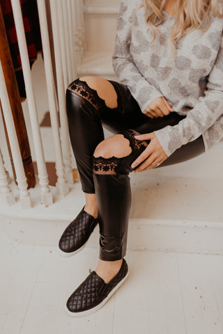 Like Leather Lace Knee Leggings