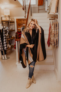 Black & Camel Stripe Poncho Shawl