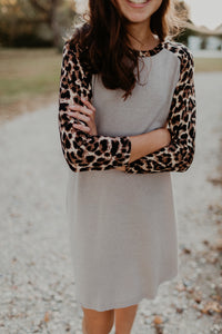 Tweens Leopard Sleeve Dress