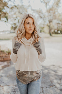 Keepin' It Camo Cowl Neck Pullover