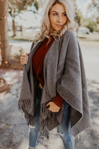 Grey Plaid Poncho Shawl