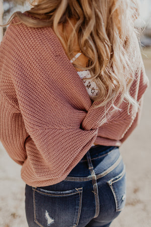 Latte Lifestyle Knot Sweater {SKY ONLY}
