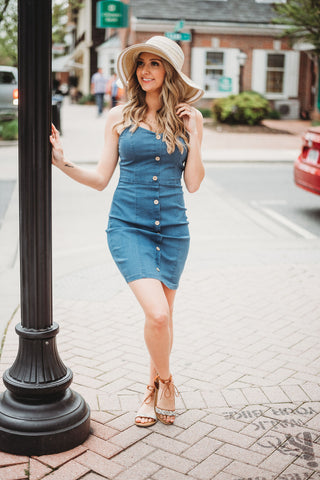 Button Up Buttercup Denim Bodycon Dress