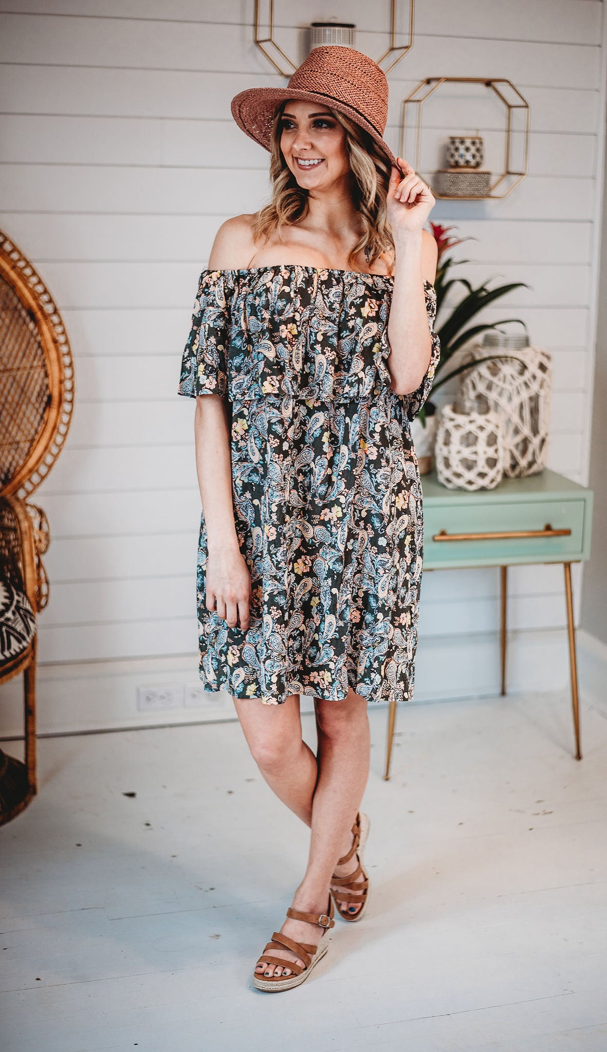 Paisley Moon Off The Shoulder Dress