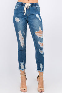 Distressed Denim Jogger {No Distress On Back}