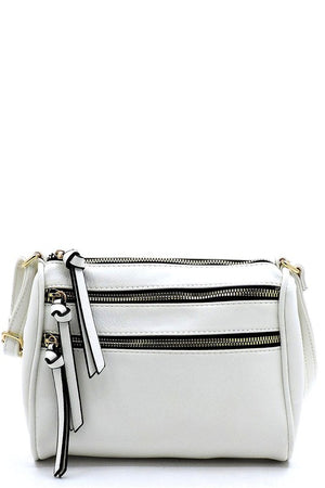 Multi Zip Vegan Leather Crossbody {MULTIPLE COLORS}